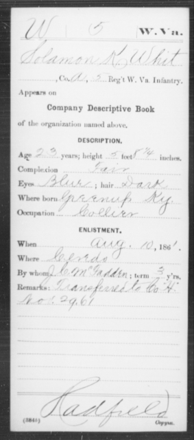 Whit, Solamon K - Age 23, Year: 1861 - Miscellaneous Card Abstracts of Records - West Virginia