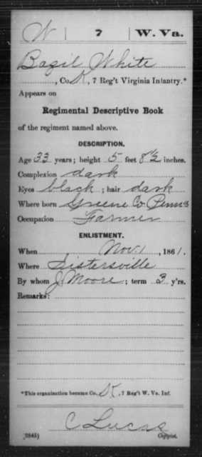 White, Bazil - Age 33, Year: 1861 - Miscellaneous Card Abstracts of Records - West Virginia