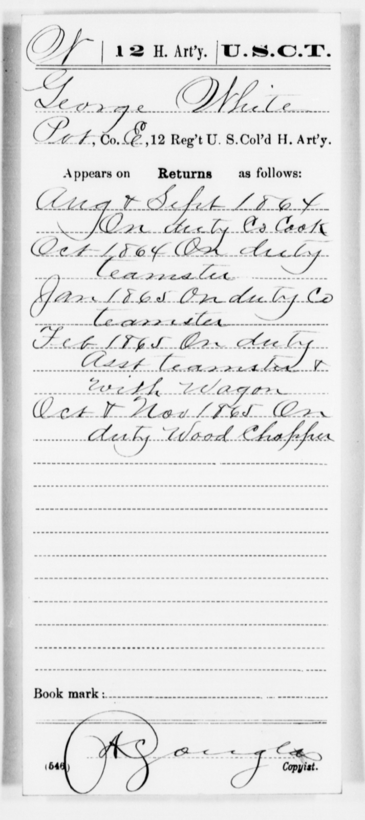 White, George - Age [Blank], Year: 1864 - 12th US Colored Heavy Artillery, Misc Cards, H-Y - United States Colored Troops: Artillery Organizations