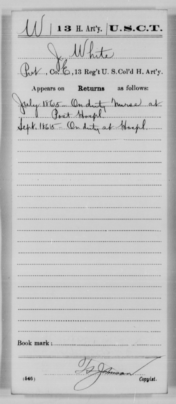 White, J - Age [Blank], Year: 1865 - 13th US Colored Heavy Artillery, Misc Cards - United States Colored Troops: Artillery Organizations