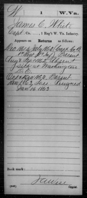 White, James C - Age [Blank], Year: 1861 - Miscellaneous Card Abstracts of Records - West Virginia