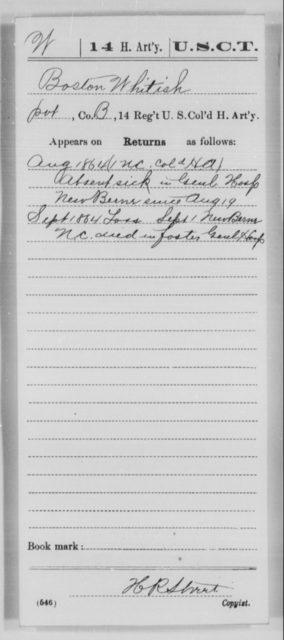 Whitish, Boston - Age [Blank], Year: 1864 - 14th US Colored Heavy Artillery, Wi-Y AND Misc Cards - United States Colored Troops: Artillery Organizations