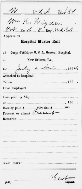 Wigden, Wm H - Age [Blank], Year: 1864 - 11th US Colored Heavy Artillery, Misc Cards, E-Y - United States Colored Troops: Artillery Organizations