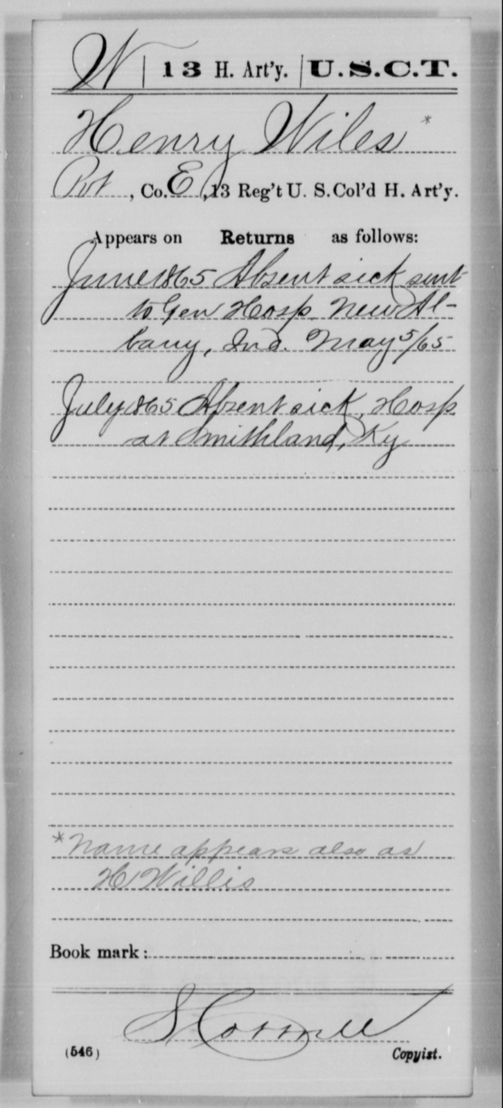 Wiles, Henry - Age [Blank], Year: 1865 - 13th US Colored Heavy Artillery, Misc Cards - United States Colored Troops: Artillery Organizations