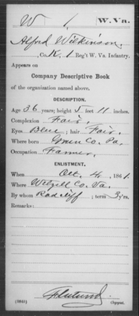 Wilkinson, Alfred - Age 36, Year: 1861 - Miscellaneous Card Abstracts of Records - West Virginia