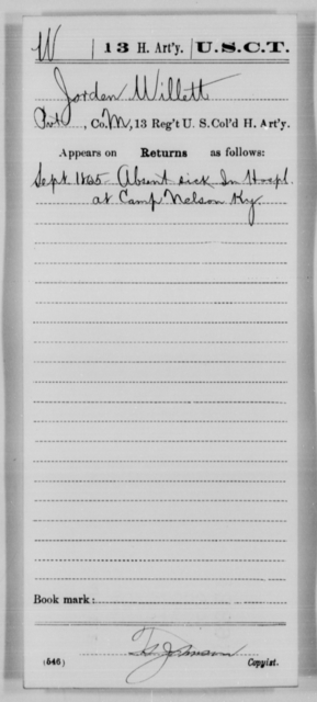 Willett, Jorden - Age [Blank], Year: 1865 - 13th US Colored Heavy Artillery, Misc Cards - United States Colored Troops: Artillery Organizations