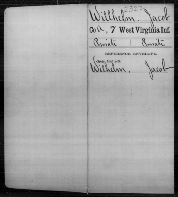 Willhelm, Jacob - Age [Blank], Year: [Blank] - Seventh Infantry - West Virginia