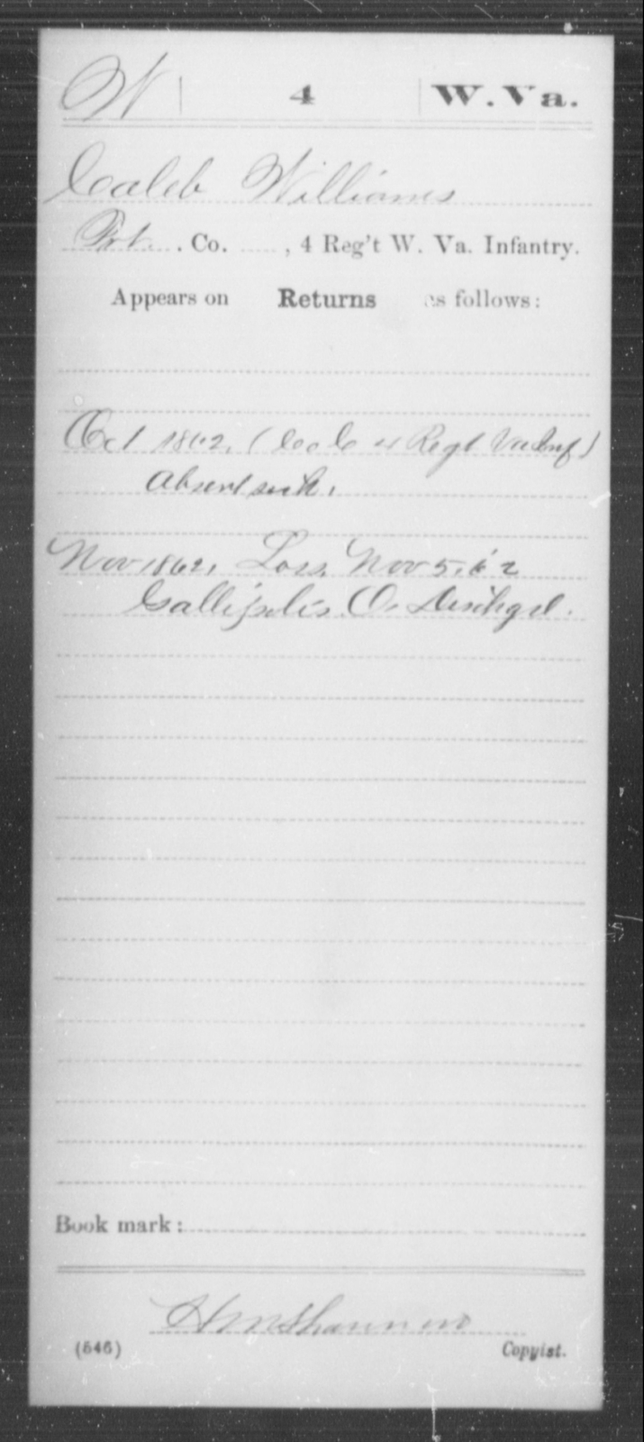 Williams, Caleb - Age [Blank], Year: 1862 - Miscellaneous Card Abstracts of Records - West Virginia