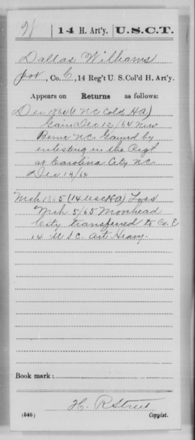 Williams, Dallas - Age [Blank], Year: 1864 - 14th US Colored Heavy Artillery, Wi-Y AND Misc Cards - United States Colored Troops: Artillery Organizations