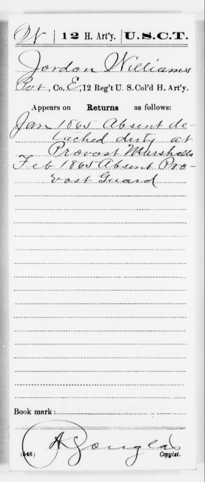 Williams, Jordon - Age [Blank], Year: 1865 - 12th US Colored Heavy Artillery, Misc Cards, H-Y - United States Colored Troops: Artillery Organizations
