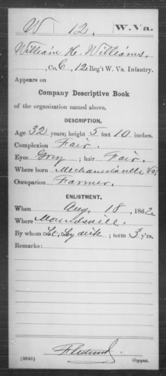 Williams, William H - Age 32, Year: 1862 - Miscellaneous Card Abstracts of Records - West Virginia