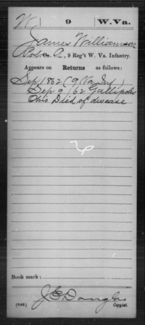 Williamson, James - Age [Blank], Year: 1862 - Miscellaneous Card Abstracts of Records - West Virginia