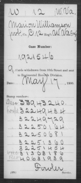 Williamson, Marion - Age [Blank], Year: [Blank] - Miscellaneous Card Abstracts of Records - West Virginia