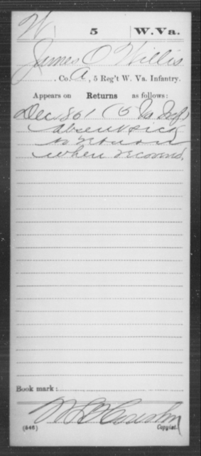 Willis, James O - Age [Blank], Year: 1861 - Miscellaneous Card Abstracts of Records - West Virginia