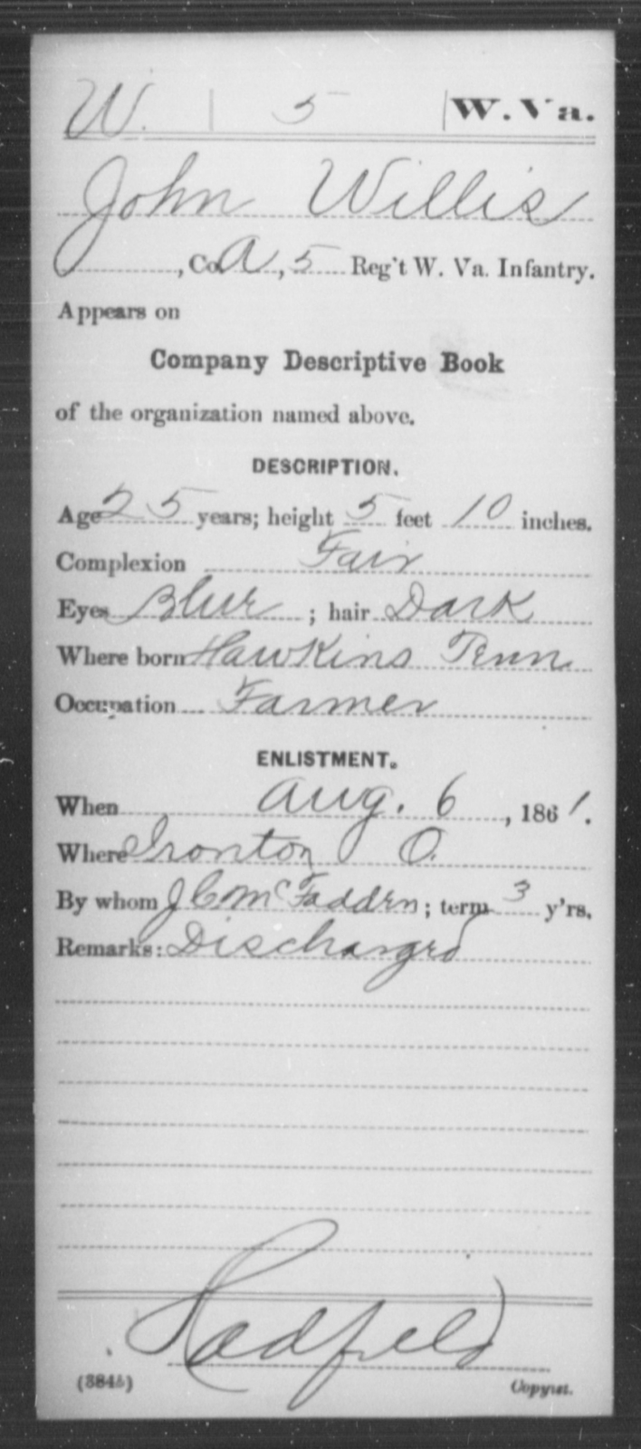 Willis, John - Age 25, Year: 1861 - Miscellaneous Card Abstracts of Records - West Virginia