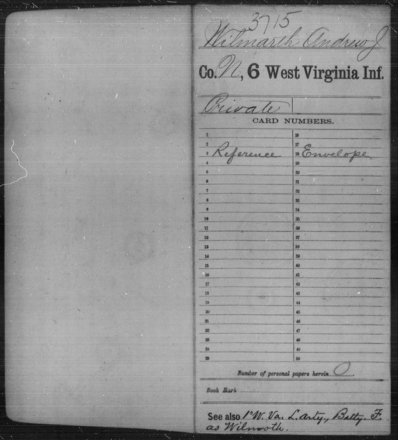 Wilmarth, Andrew J - Age [Blank], Year: [Blank] - Sixth Infantry - West Virginia
