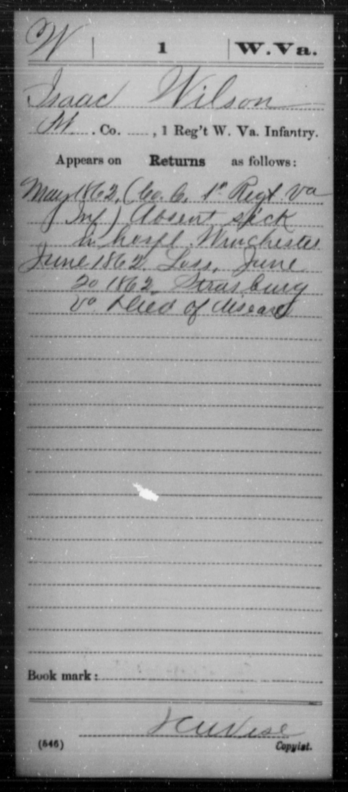 Wilson, Isaac - Age [Blank], Year: 1862 - Miscellaneous Card Abstracts of Records - West Virginia