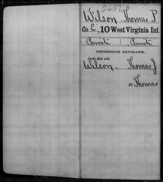 Wilson, Thomas P - Age [Blank], Year: [Blank] - Tenth Infantry - West Virginia