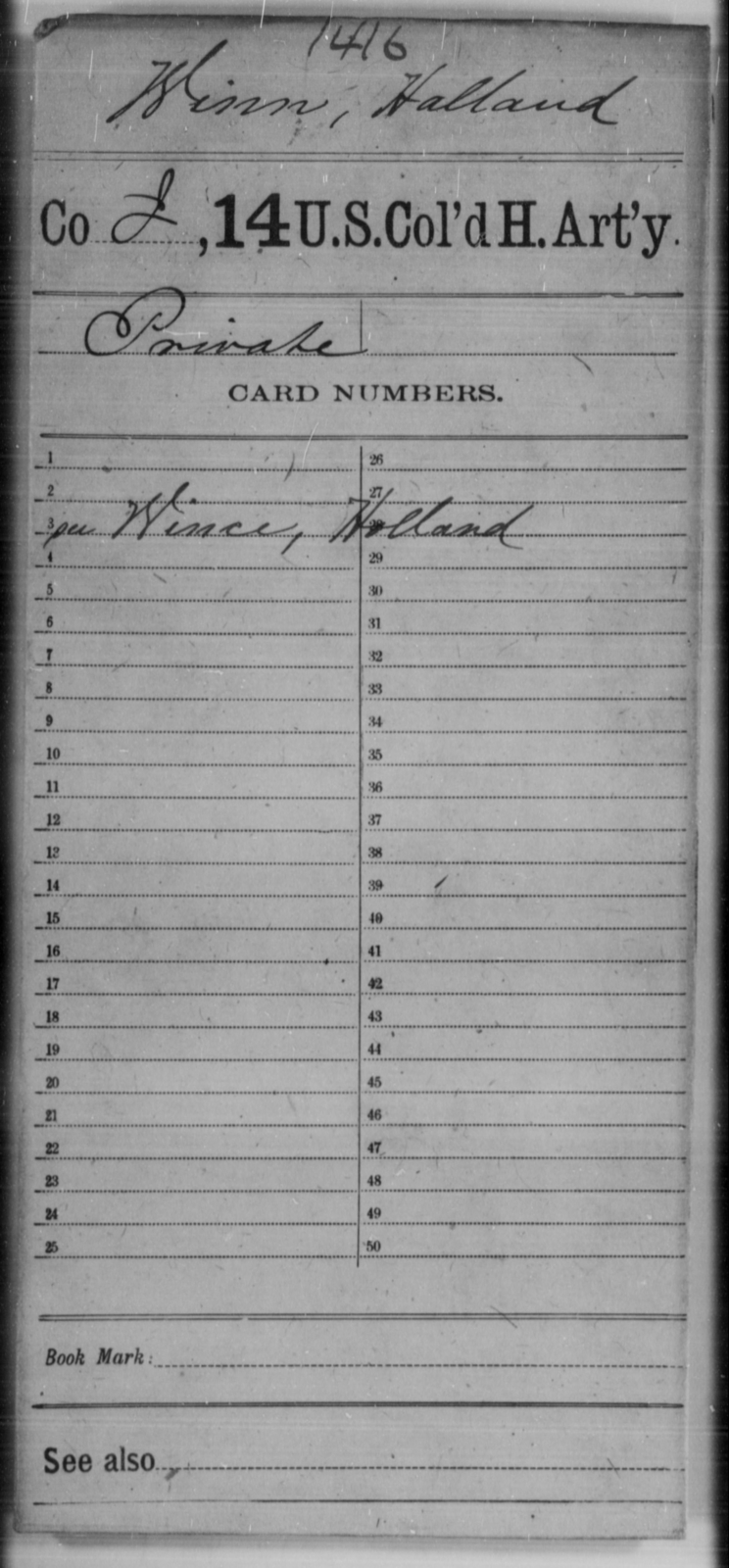 Winn, Halland - Age [Blank], Year: [Blank] - 14th US Colored Heavy Artillery, Wi-Y AND Misc Cards - United States Colored Troops: Artillery Organizations