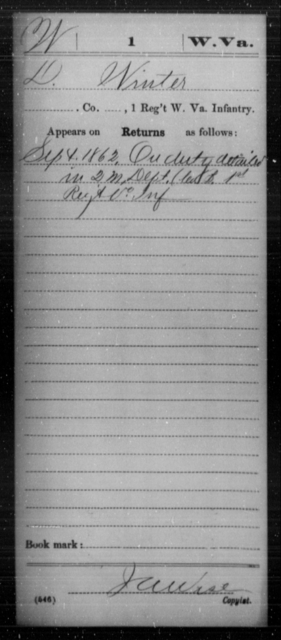 Winter, D - Age [Blank], Year: 1862 - Miscellaneous Card Abstracts of Records - West Virginia