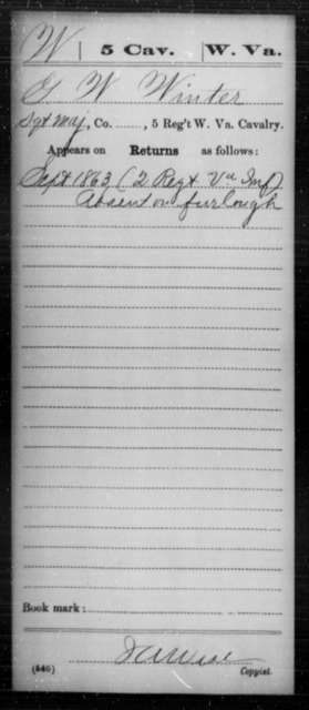Winter, G W - Age [Blank], Year: 1863 - Miscellaneous Card Abstracts of Records - West Virginia