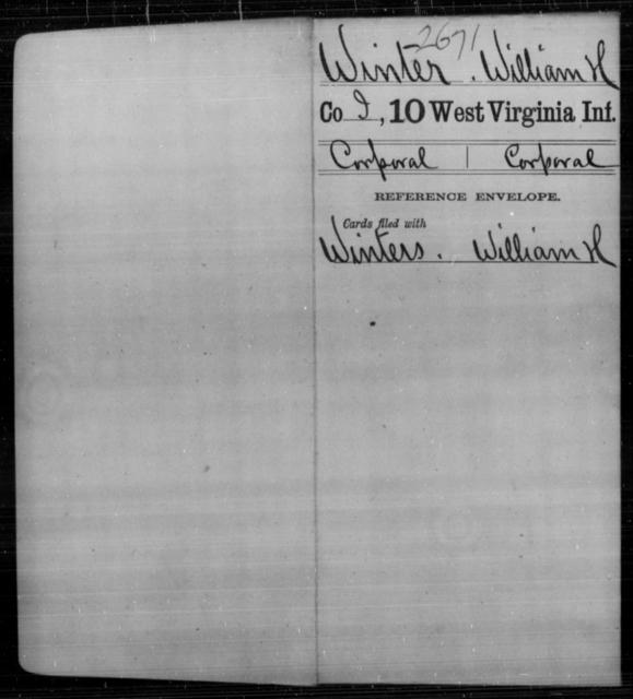 Winter, William H - Age [Blank], Year: [Blank] - Tenth Infantry - West Virginia