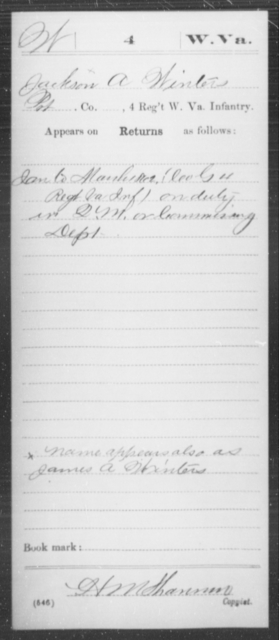 Winters, Jackson A - Age [Blank], Year: 1862 - Miscellaneous Card Abstracts of Records - West Virginia