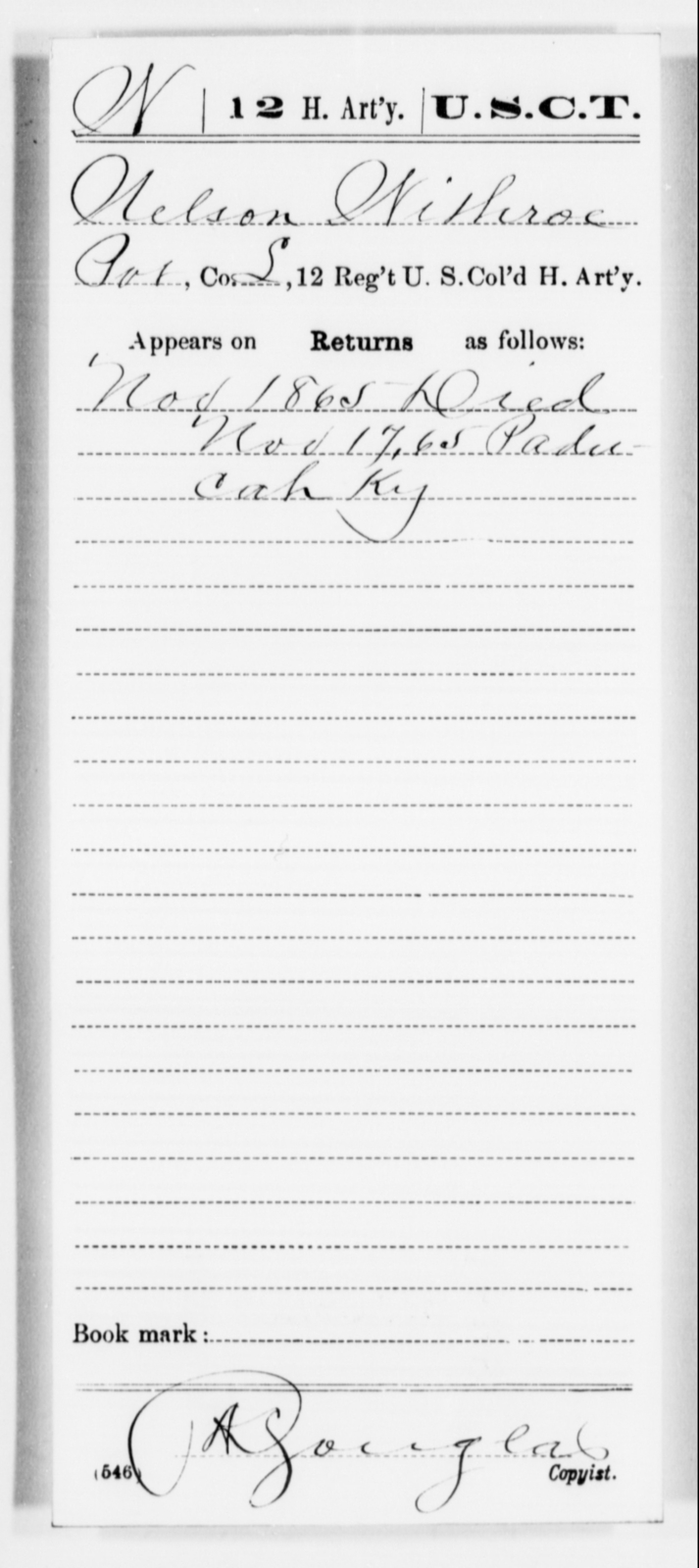 Withroe, Nelson - Age [Blank], Year: 1865 - 12th US Colored Heavy Artillery, Misc Cards, H-Y - United States Colored Troops: Artillery Organizations