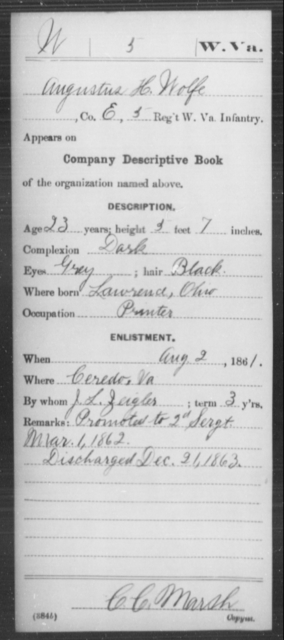 Wolfe, Augustus H - Age 23, Year: 1861 - Miscellaneous Card Abstracts of Records - West Virginia