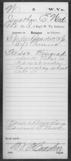 Wood, Jonathan E - Age [Blank], Year: 1861 - Miscellaneous Card Abstracts of Records - West Virginia