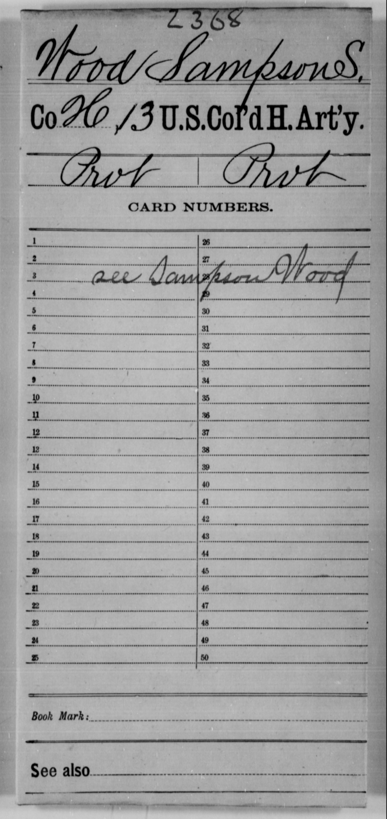 Wood, Sampson S - Age [Blank], Year: [Blank] - 13th US Colored Heavy Artillery - United States Colored Troops: Artillery Organizations