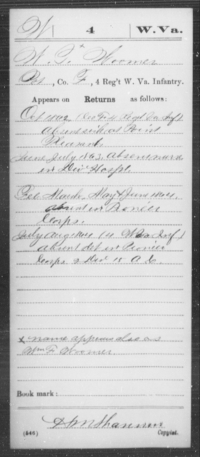 Woomer, W T - Age [Blank], Year: 1862 - Miscellaneous Card Abstracts of Records - West Virginia