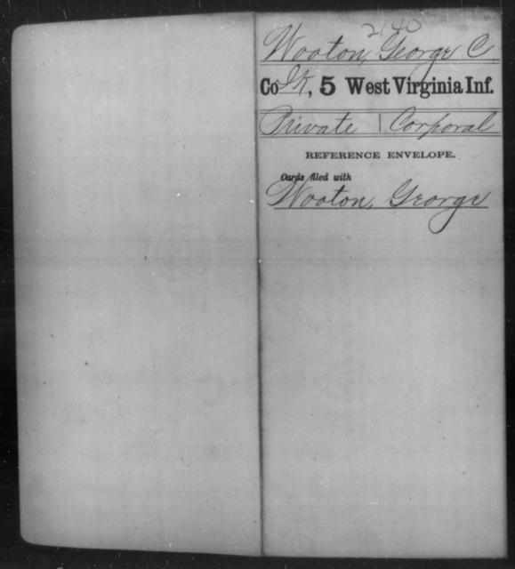 Wooton, George C - Age [Blank], Year: [Blank] - Fifth Infantry - West Virginia