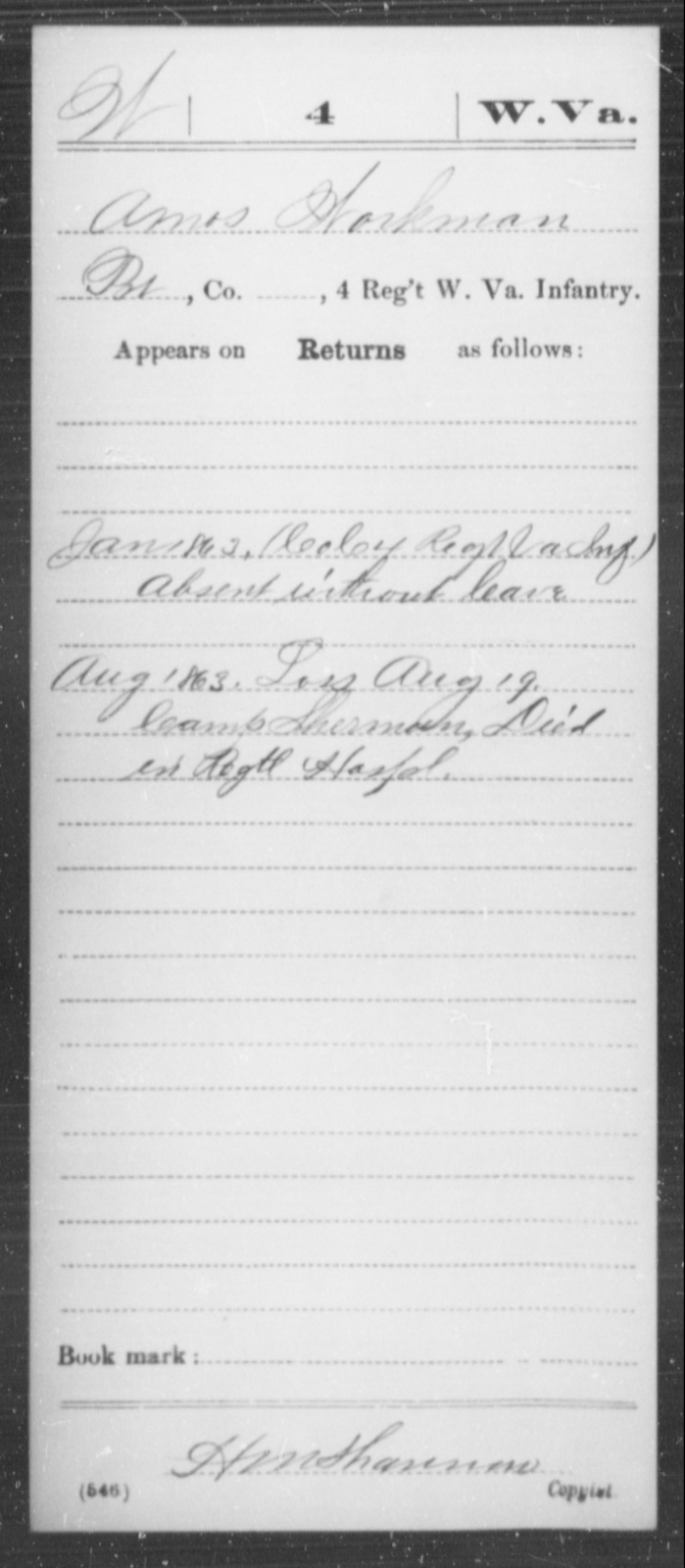 Workman, Amos - Age [Blank], Year: 1863 - Miscellaneous Card Abstracts of Records - West Virginia