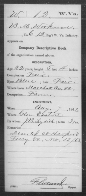 Workman, B M - Age 22, Year: 1862 - Miscellaneous Card Abstracts of Records - West Virginia
