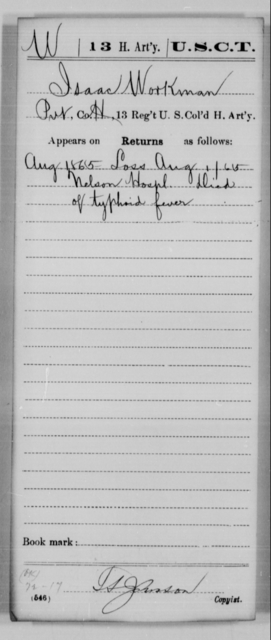 Workman, Isaac - Age [Blank], Year: 1865 - 13th US Colored Heavy Artillery, Misc Cards - United States Colored Troops: Artillery Organizations