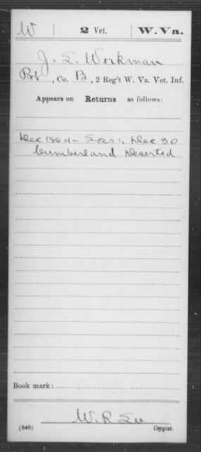 Workman, J L - Age [Blank], Year: 1864 - Miscellaneous Card Abstracts of Records - West Virginia