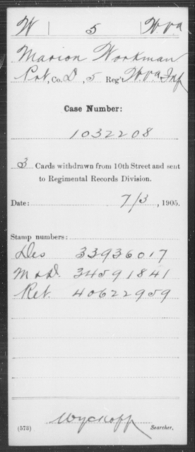 Workman, Marion - Age [Blank], Year: [Blank] - Miscellaneous Card Abstracts of Records - West Virginia