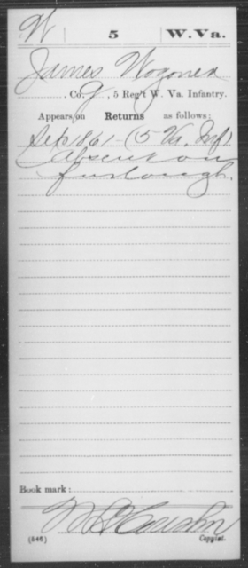 Wozoner, James - Age [Blank], Year: 1861 - Miscellaneous Card Abstracts of Records - West Virginia