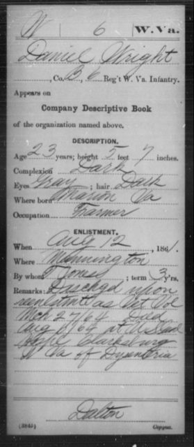 Wright, Daniel - Age 23, Year: 1861 - Miscellaneous Card Abstracts of Records - West Virginia