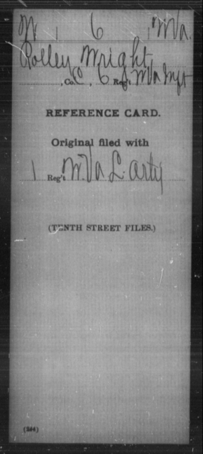 Wright, Rolley - Age [Blank], Year: [Blank] - Miscellaneous Card Abstracts of Records - West Virginia