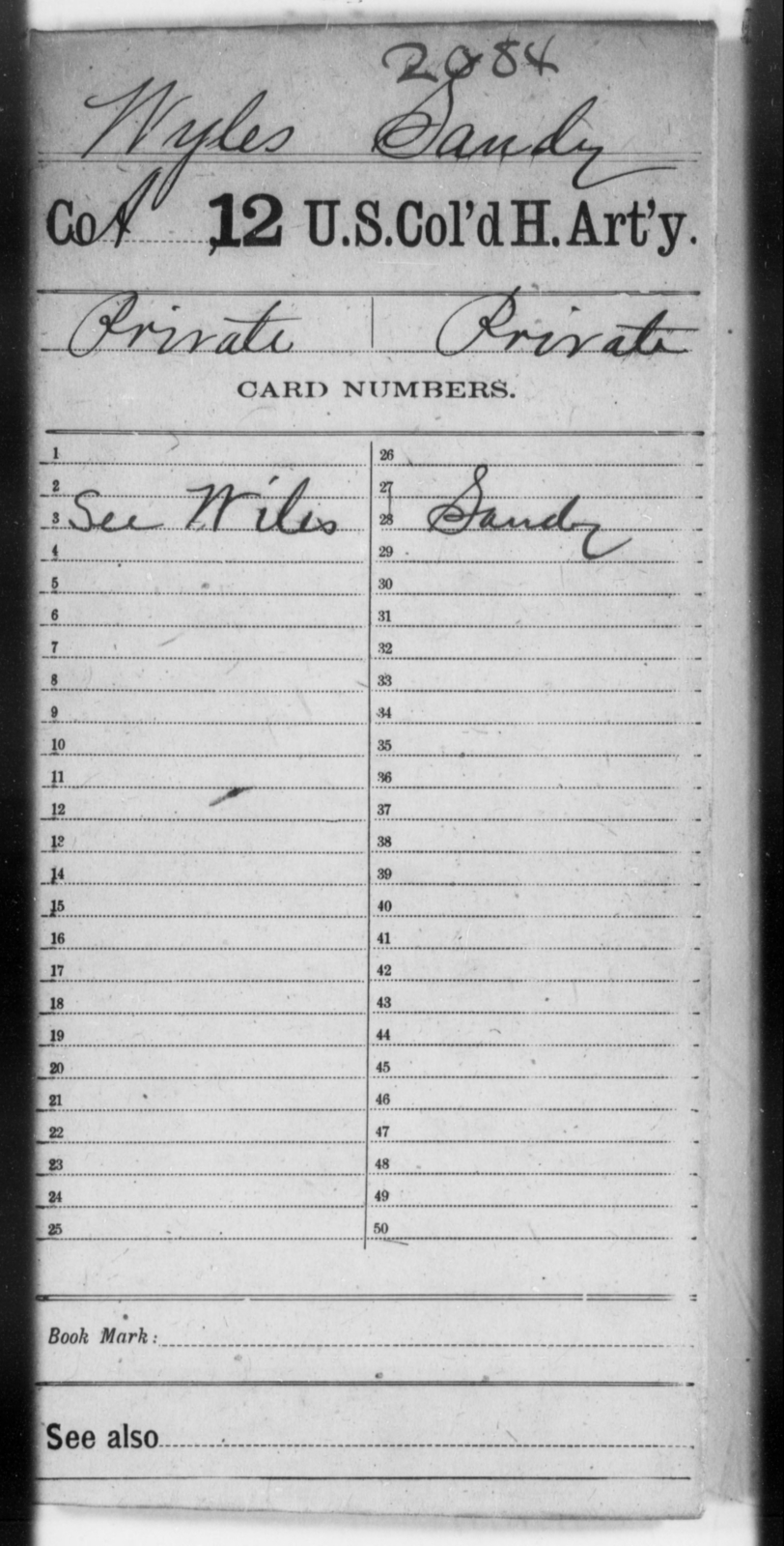 Wyles, Sandy - Age [Blank], Year: [Blank] - 12th US Colored Heavy Artillery, Wo-Y AND Misc Cards, B-H - United States Colored Troops: Artillery Organizations