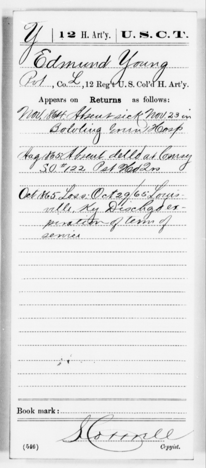Young, Edmund - Age [Blank], Year: 1864 - 12th US Colored Heavy Artillery, Misc Cards, H-Y - United States Colored Troops: Artillery Organizations