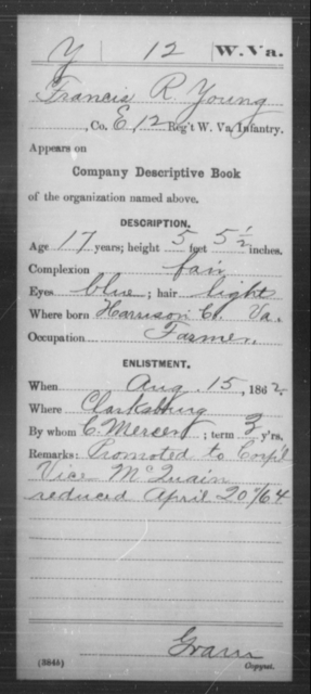 Young, Francis R - Age 17, Year: 1862 - Miscellaneous Card Abstracts of Records - West Virginia