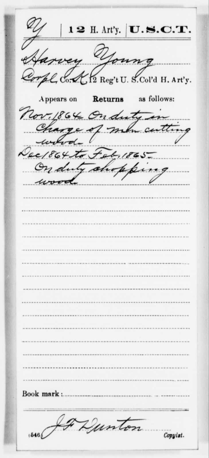Young, Harvey - Age [Blank], Year: 1864 - 12th US Colored Heavy Artillery, Misc Cards, H-Y - United States Colored Troops: Artillery Organizations