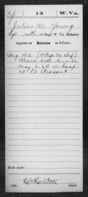Young, Julius M - Age [Blank], Year: 1863 - Miscellaneous Card Abstracts of Records - West Virginia