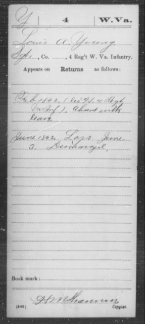 Young, Louis A - Age [Blank], Year: 1862 - Miscellaneous Card Abstracts of Records - West Virginia