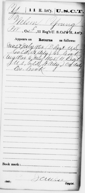 Young, Nelson - Age [Blank], Year: 1864 - 11th US Colored Heavy Artillery, Misc Cards, E-Y - United States Colored Troops: Artillery Organizations