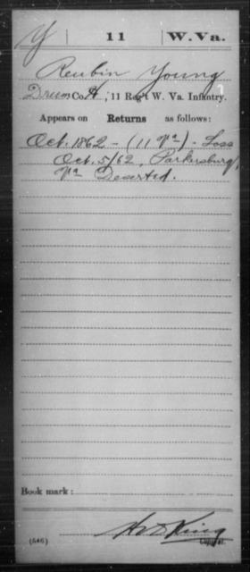 Young, Reubin - Age [Blank], Year: 1862 - Miscellaneous Card Abstracts of Records - West Virginia