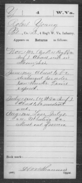 Young, Robert - Age [Blank], Year: 1863 - Miscellaneous Card Abstracts of Records - West Virginia